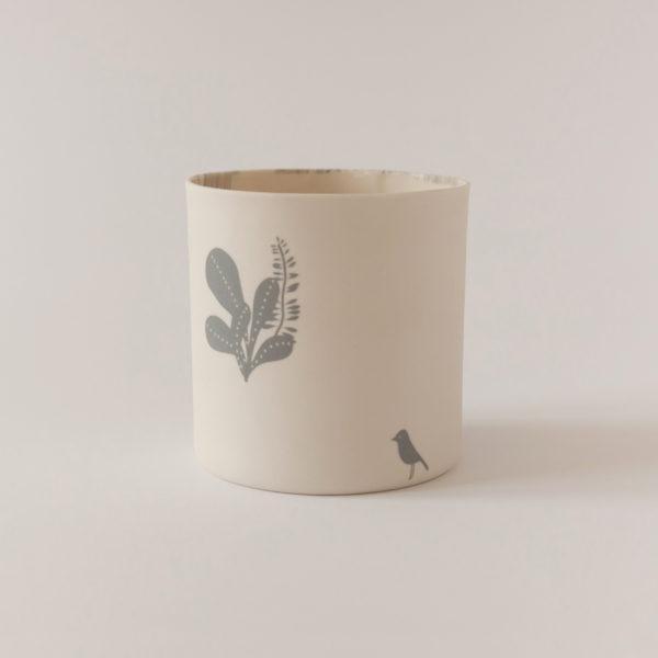 illustrated ceramic vase with cactus and bird