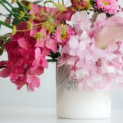 flowers on ceramic vase - detail