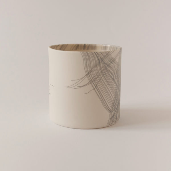 illustrated ceramic vase with roots