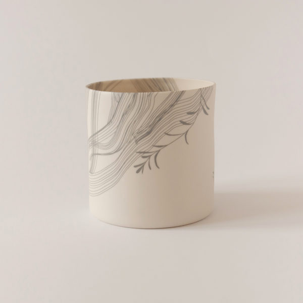 Illustrated ceramic vase with leaves