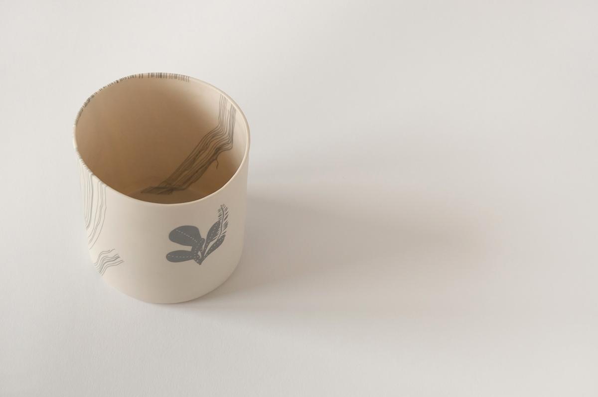illustrated ceramic vase with cactus